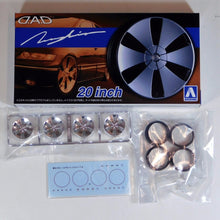 "Load image into Gallery viewer, Aoshima 1/24 Rim & Tire Set ( 63) D.A.D. Zeunglein 20"" 05427"