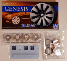 "Load image into Gallery viewer, Aoshima 1/24 Rim & Tire Set ( 75) Fabulous Genesis 20"" 54666"