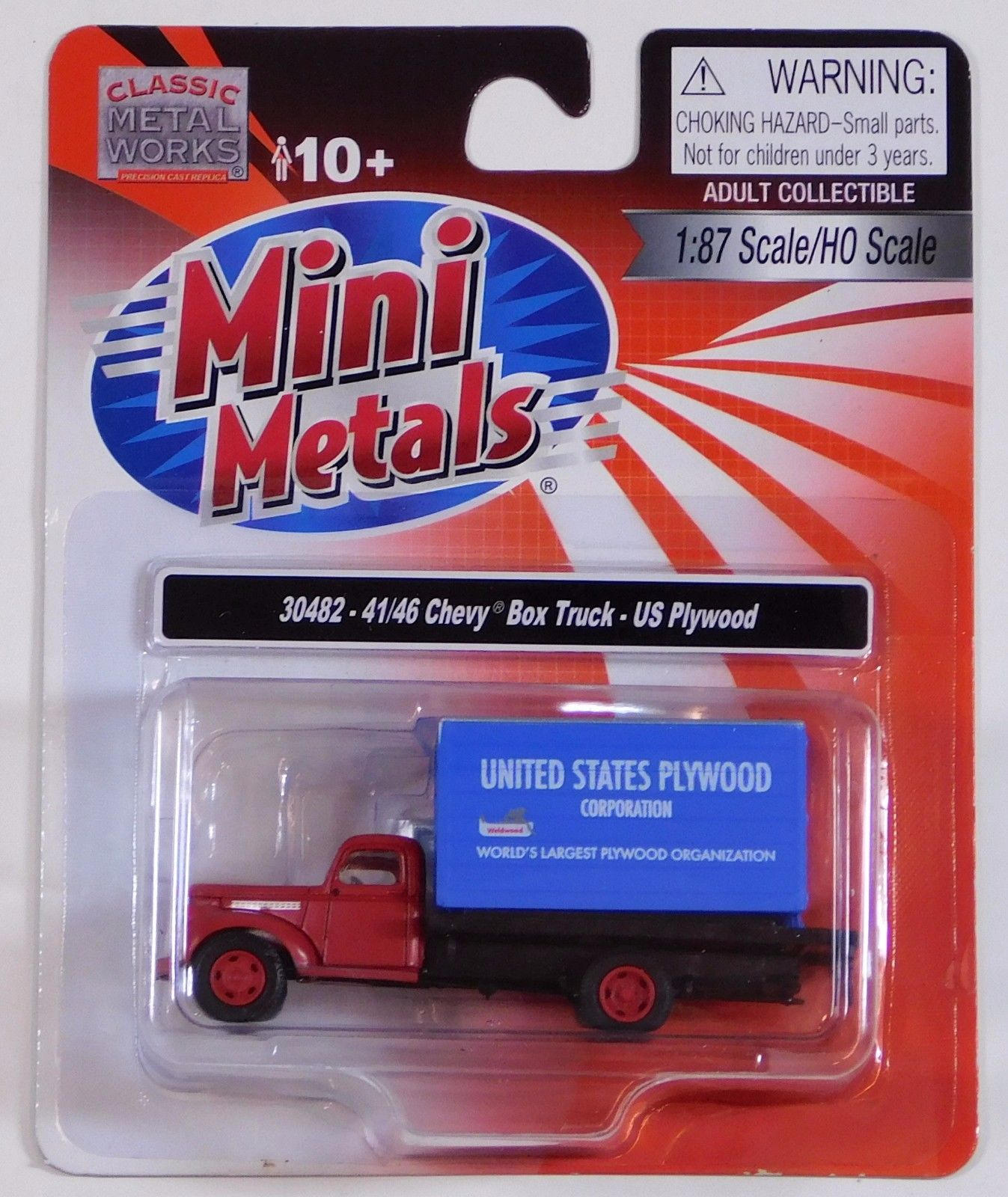 Classic Metal 1/87 HO 41/46 Chevy Box Truck U.S. Plywood 30482