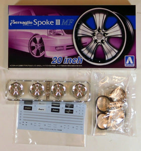 "Aoshima 1/24 Rim & Tire Set ( 74) Bersaglio Spoke III 20"" MF 05465"