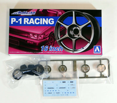 Aoshima 1/24 Rim & Tire Set ( 12) P-1 Racing 16