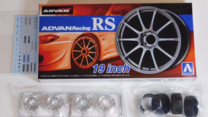 "Aoshima 1/24 Rim & Tire Set ( 45) Advan Racing RS 19"" 05378"