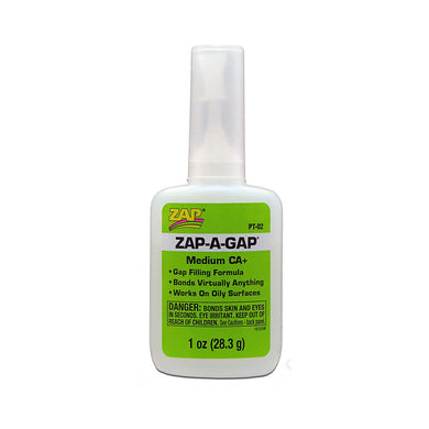 Pacer PT02 Zap-A-Gap CA+ Cyanoacrylate Super Glue 1 oz