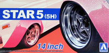 "Load image into Gallery viewer, Aoshima 1/24 Rim & Tire Set ( 68) Star 5 (5H) 14"" 05439"
