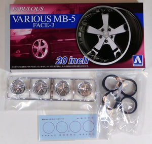 "Aoshima 1/24 Rim & Tire Set ( 61) Fabulous Various MB-5 Face-3 20"" 05425"