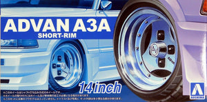 "Aoshima 1/24 Rim & Tire Set ( 90) Advan A3A 14"" short rim 5465"