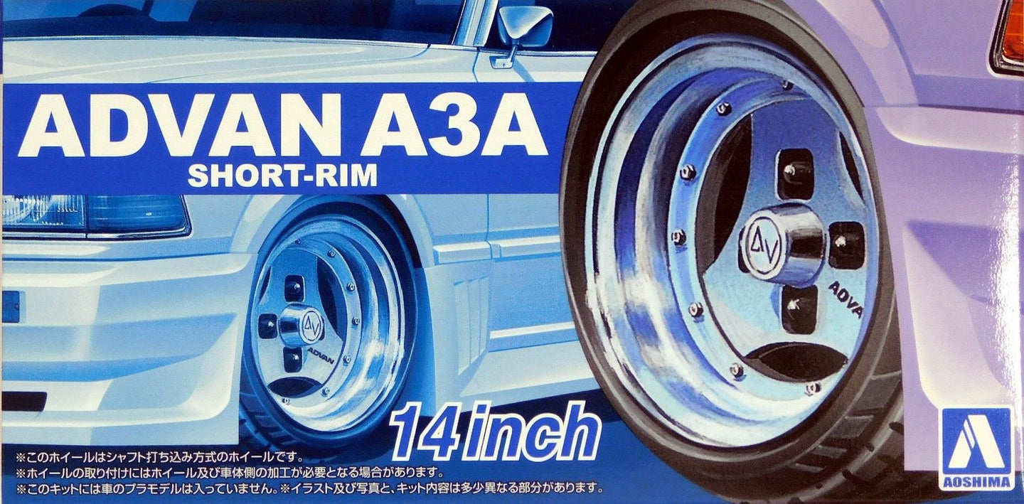 Aoshima 1/24 Rim & Tire Set ( 90) Advan A3A 14