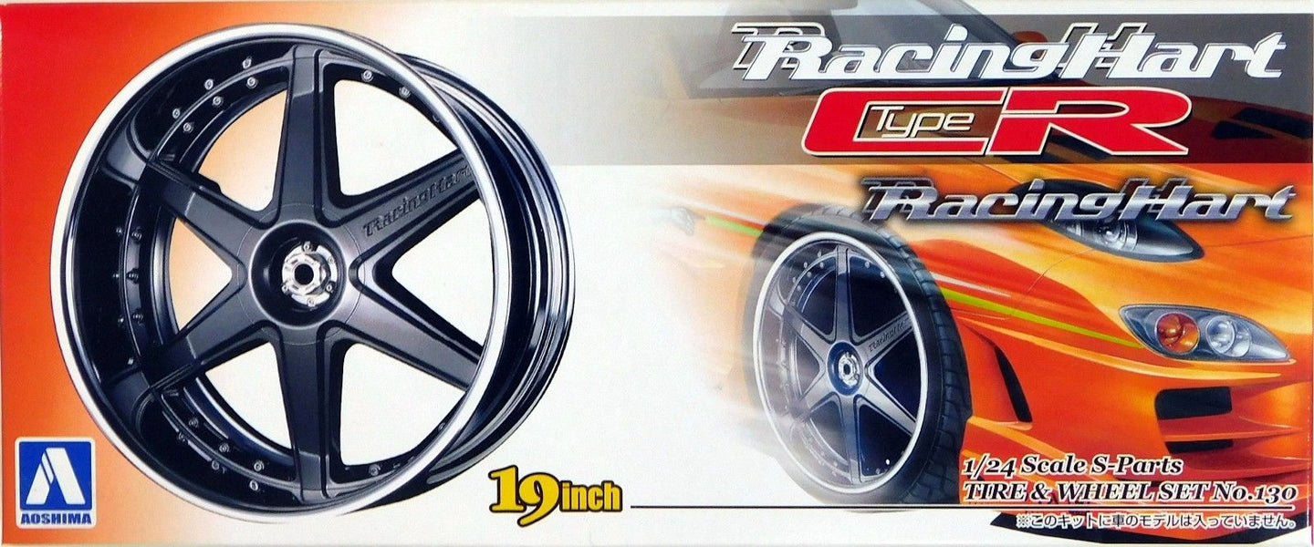 Aoshima 1/24 Rim & Tire Set (130) Racing Hart type CR 19