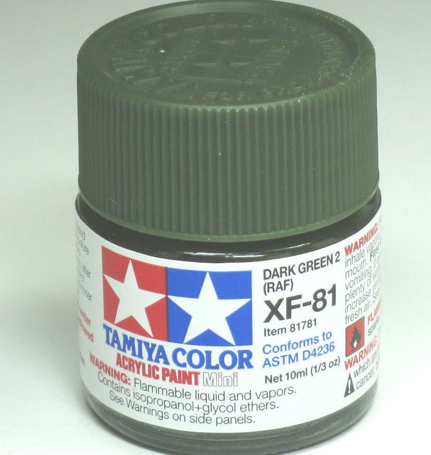 Tamiya Acrylic 10ml Mini 81781 XF-81 Dark Green 2 RAF