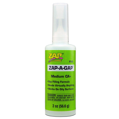 Pacer PT01 Zap-A-Gap CA+ Cyanoacrylate Super Glue 2oz