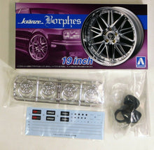 "Load image into Gallery viewer, Aoshima 1/24 Rim & Tire Set ( 86) Kranze Borphes 19"" 05528"