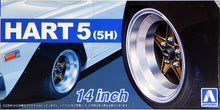 "Load image into Gallery viewer, Aoshima 1/24 Rim & Tire Set ( 65)  Hart 5 (5H) 14"" 05436"