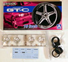 "Load image into Gallery viewer, Aoshima 1/24 Rim & Tire Set ( 70) Volk Racing GT-C 19"" 5461"