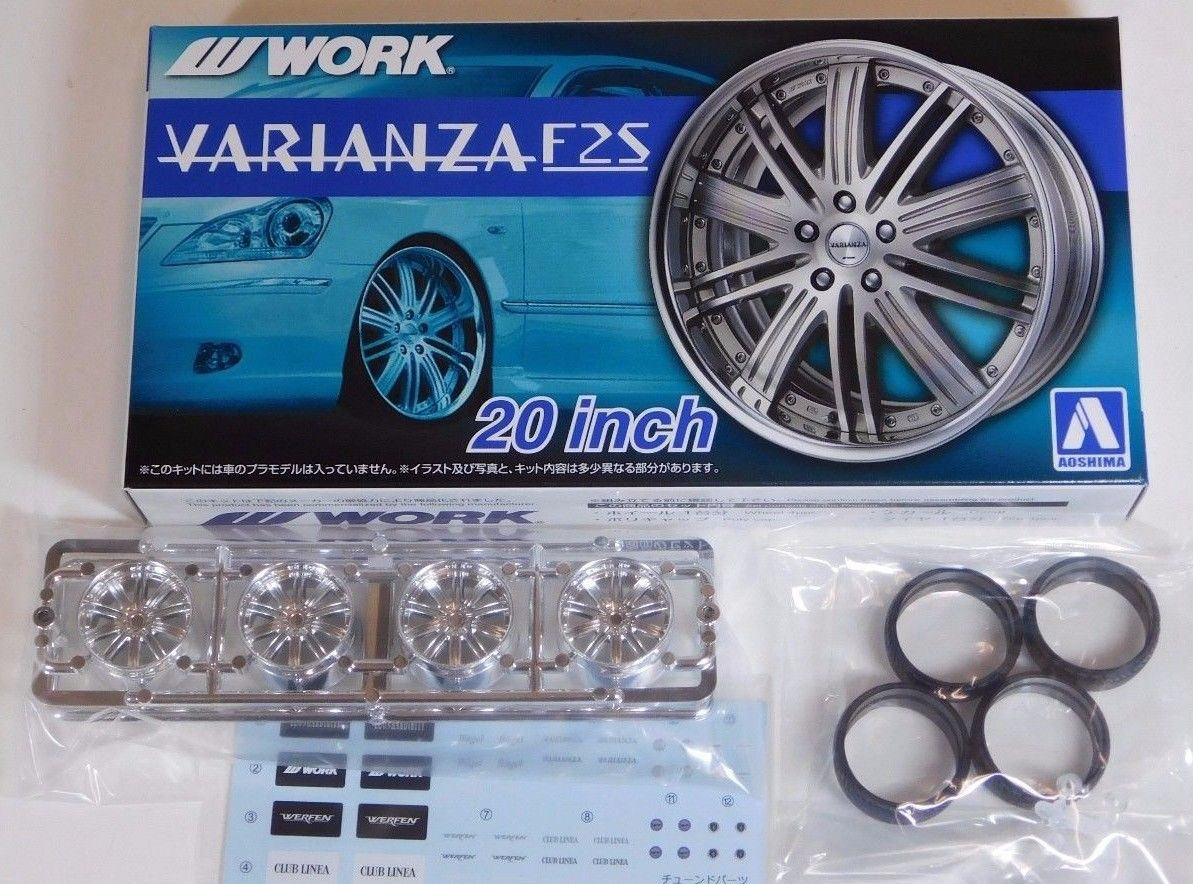 Aoshima 1/24 Rim & Tire Set ( 50) Work Varianza F25 20