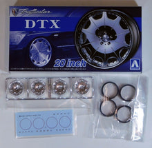 "Load image into Gallery viewer, Aoshima 1/24 Rim & Tire Set ( 62) Trafficstar DTX 20"" 05426"