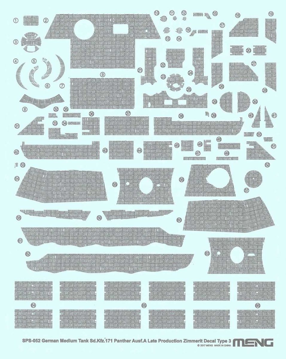 Meng 1/35 German Medium Tank Panther A Zimmerit Decal Type 3 SPS-052