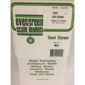 "Evergreen Styrene Plastic 2020 Freight Car Siding 0.020""x 12""x 6"" N-Scale (1)"