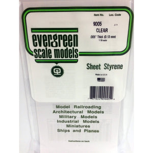 "Evergreen Styrene Plastic 9005 Clear Sheet 0.005""x 6""x 12""  (3)"