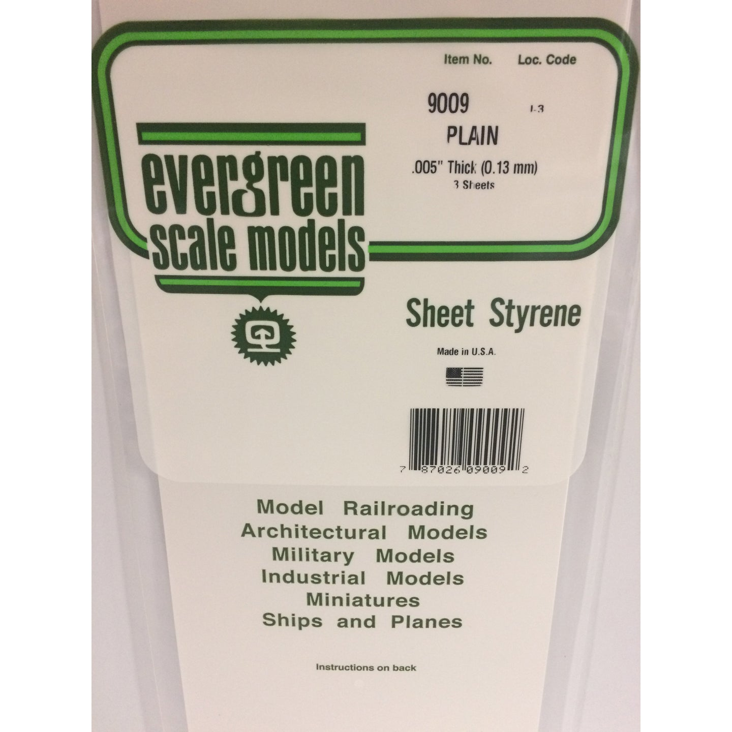 Evergreen Styrene Plastic 9009 Plain Sheet 0.005