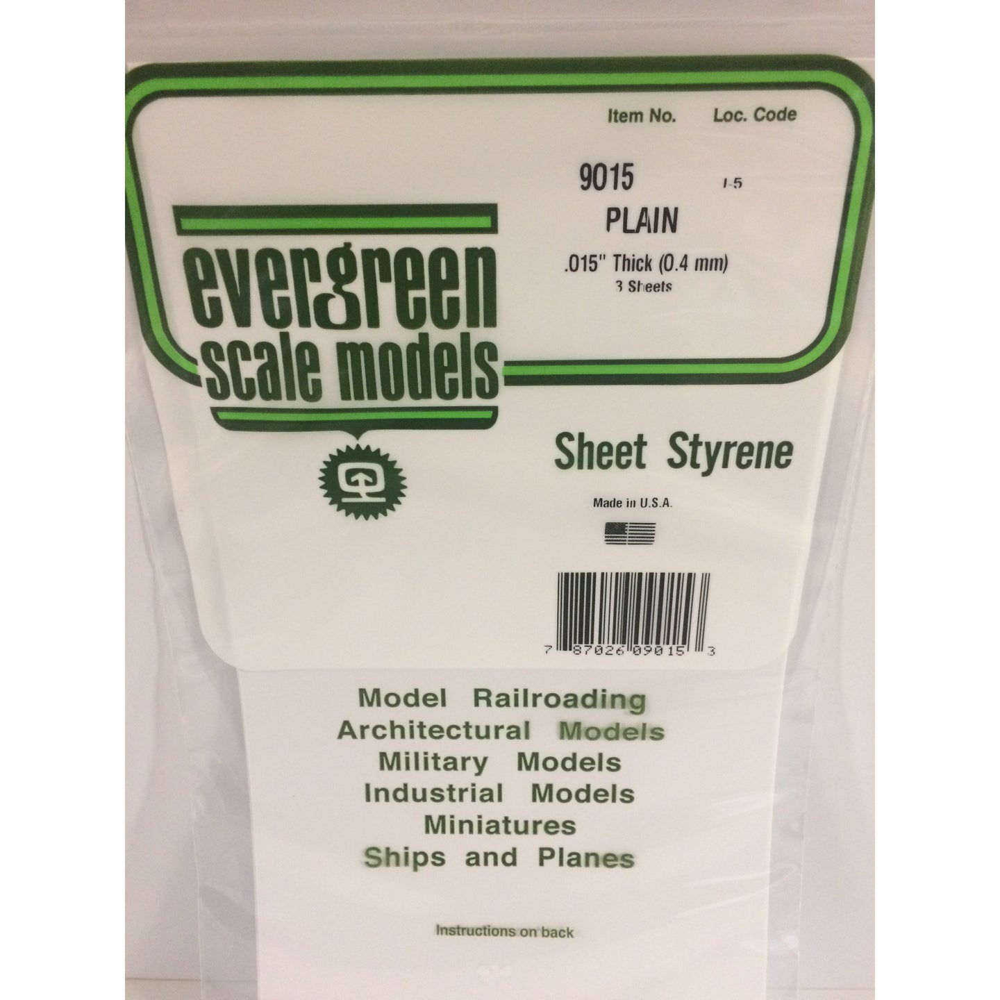 Evergreen Styrene Plastic 9015 Plain Sheet 0.015