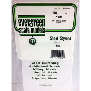 "Evergreen Styrene Plastic 9030 Plain Sheet 0.030""x 6""x 12""  (2)"