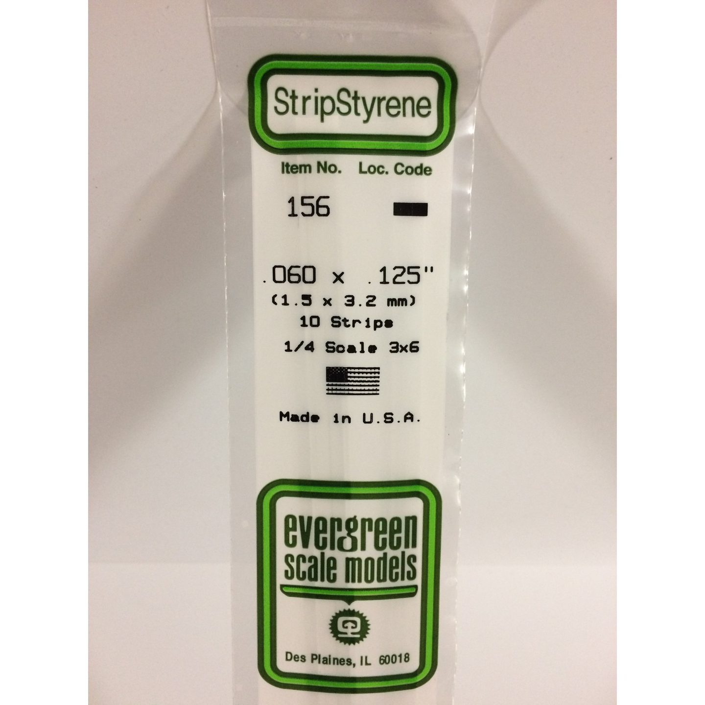 Evergreen Styrene Plastic 156 Strips 0.060