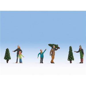 Noch 1/87 HO Christmas Tree Lot Figure Set (5) 15927