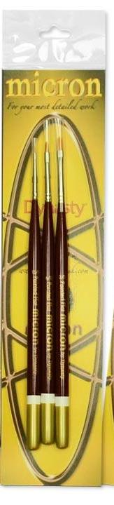 Dynasty Micron Paint Brush Paint Brush Set #2  2/0 - 6/0 - 15/0 Pointed Flats 26676