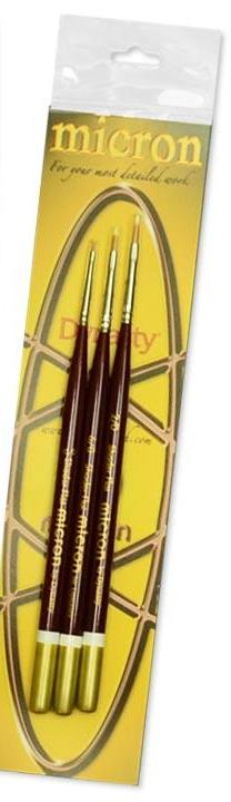 Dynasty Micron Paint Brush Paint Brush Set #3  2/0 - 6/0 - 15/0 Shader Flats 26677