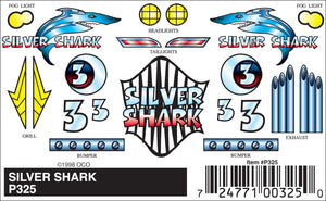 Pinecar P325 Pinewood Derby Silver Shark Stick-On Decals