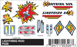 Pinecar P326 Pinewood Derby Lightning Rod Stick-On Decals