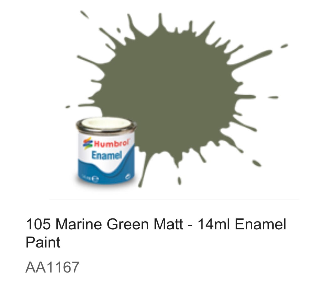 Humbrol Enamel 14ml (105) Marine Green Matt AA1167