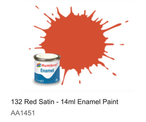 Humbrol Enamel 14ml (132) Red Satin AA1451