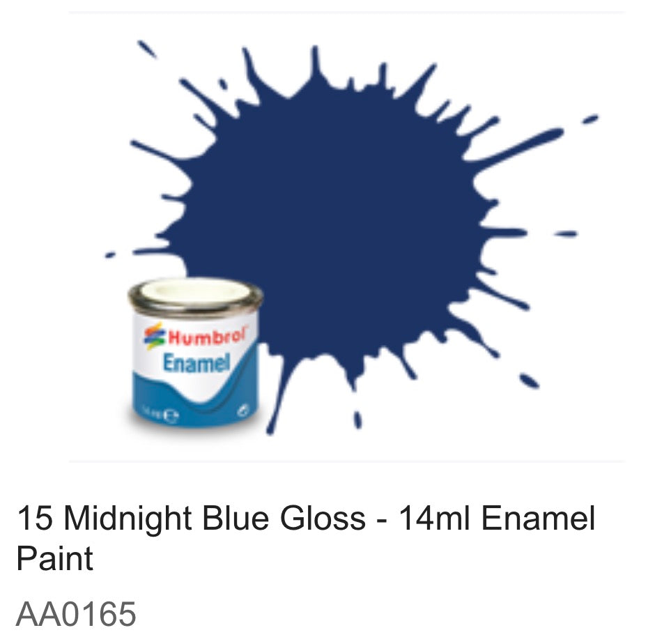 Humbrol Enamel 14ml ( 15) Midnight Blue Gloss AA0165