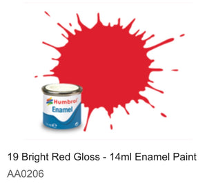 Humbrol Enamel 14ml ( 19) Bright Red Gloss AA0206