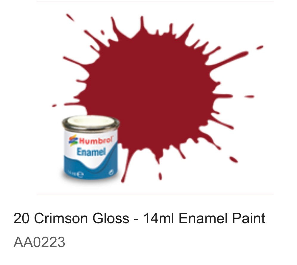 Humbrol Enamel 14ml ( 20) Crimson Gloss AA0223