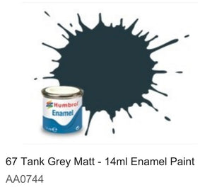 Humbrol Enamel 14ml ( 67) Tank Grey Matt AA0744