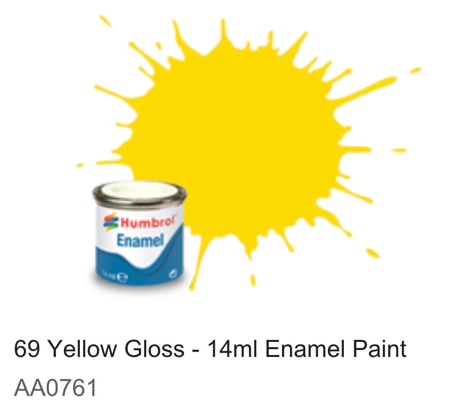 Humbrol Enamel 14ml ( 69)Yellow Gloss AA0761