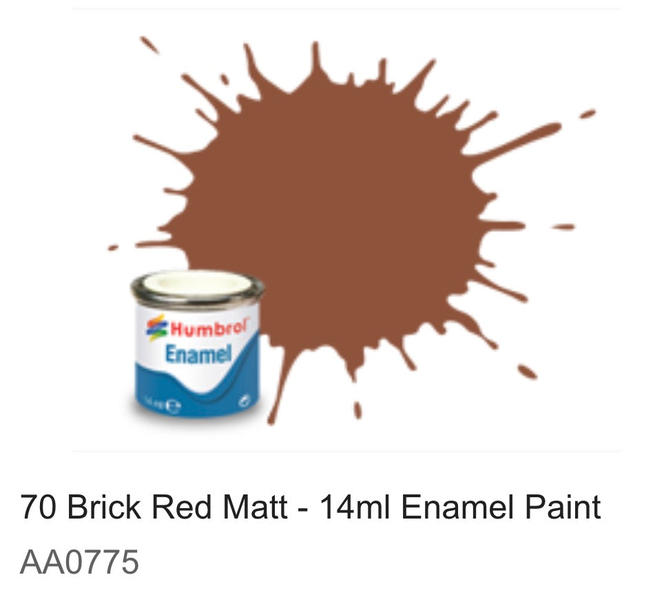 Humbrol Enamel 14ml ( 70) Brick Red Matt AA0775
