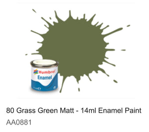 Humbrol Enamel 14ml ( 80) Grass Green Matt AA0881
