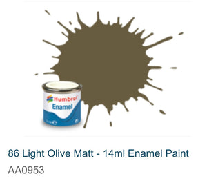 Humbrol Enamel 14ml ( 86) Light Olive Matt AA0953