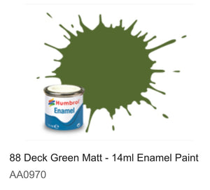 Humbrol Enamel 14ml ( 88) Deck Green Matt AA0970
