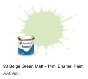 Humbrol Enamel 14ml ( 90) Beige Green Matt AA0998