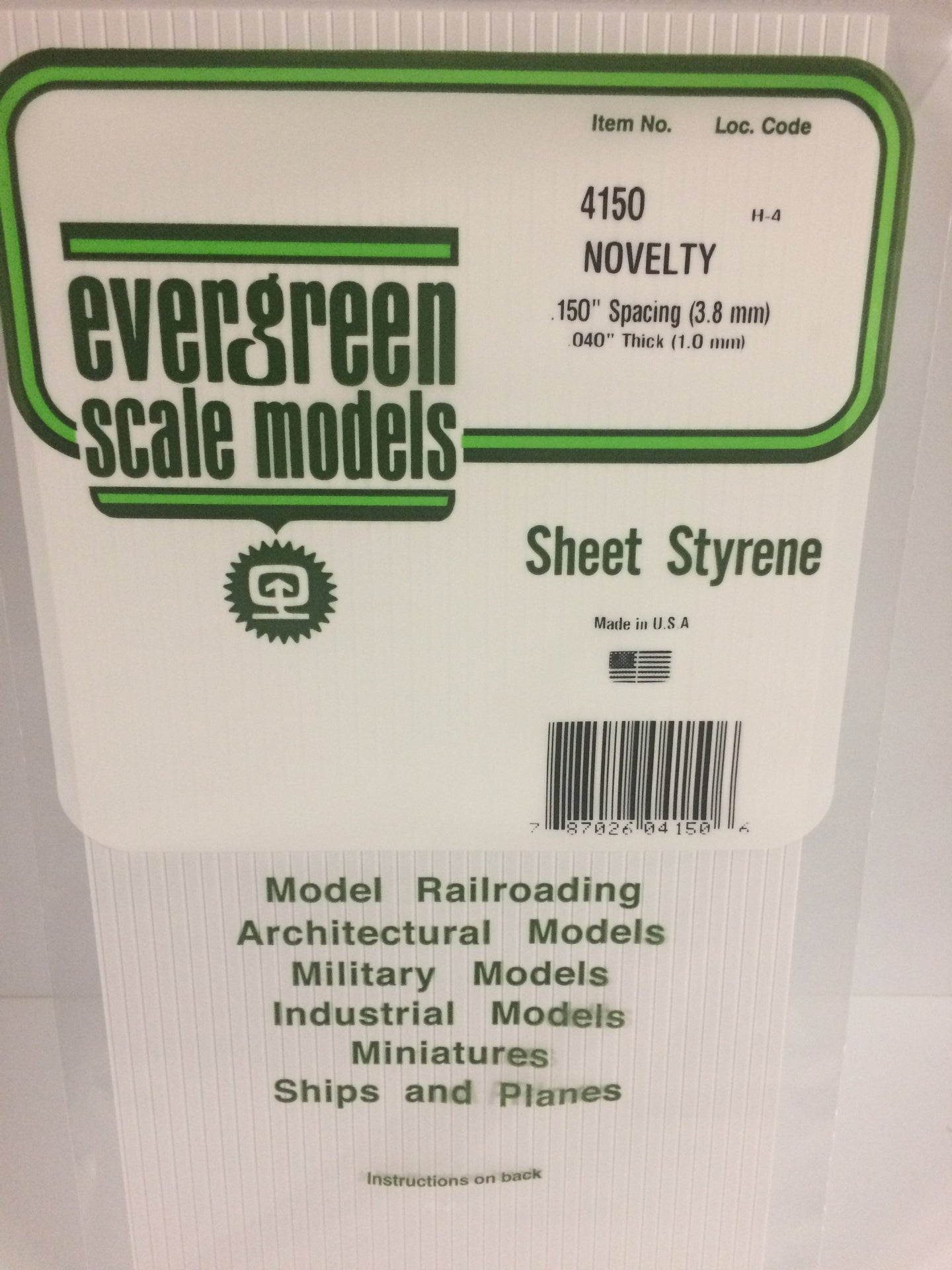 Evergreen Styrene Plastic 4150 Novelty .150