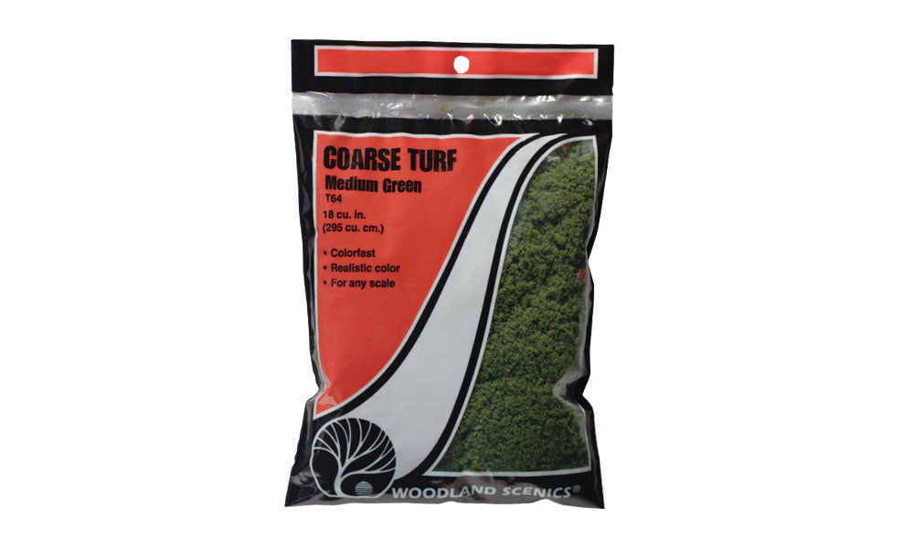 Woodland Scenics T64 Coarse Turf Medium Green Bag