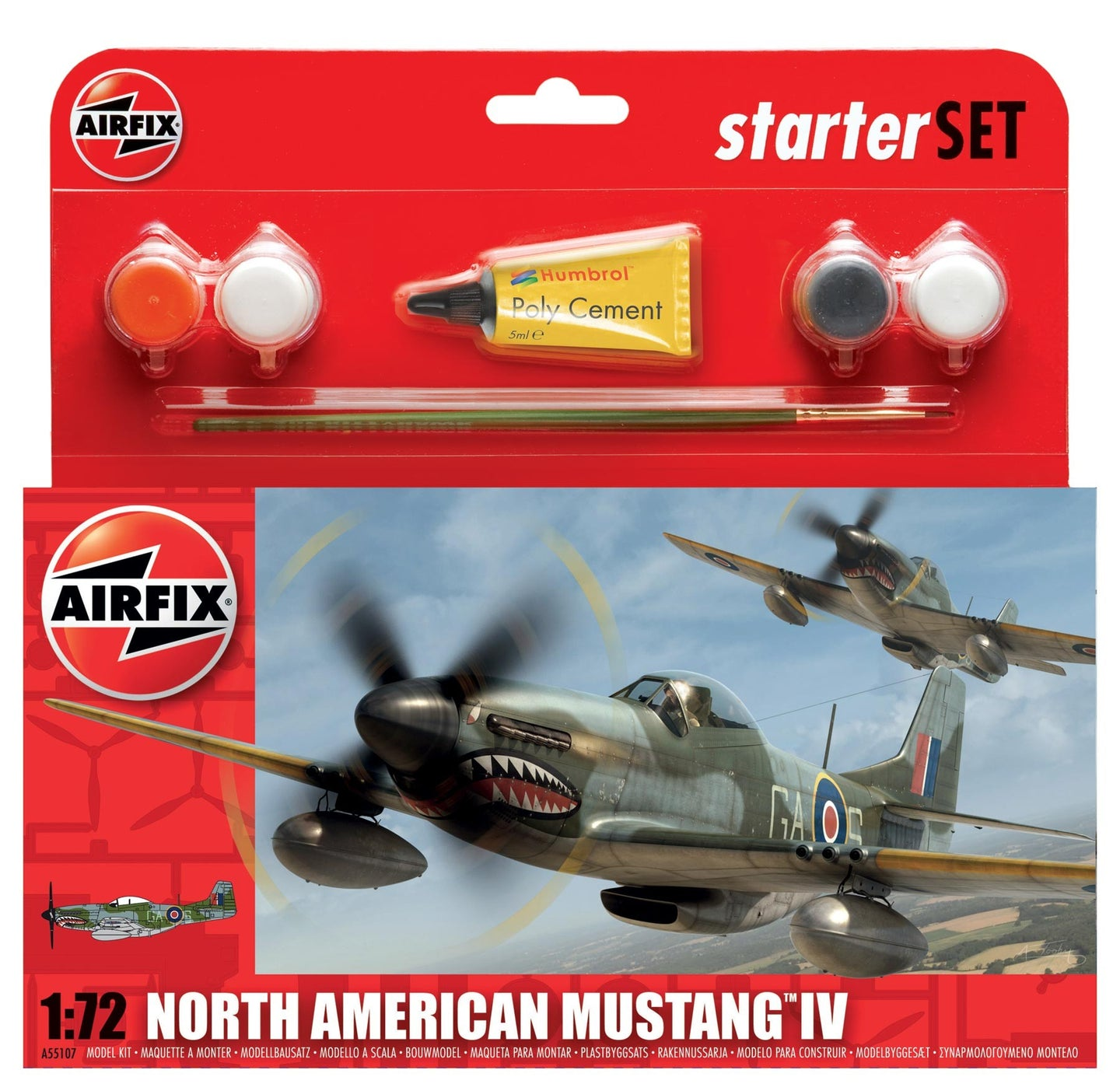 Airfix Starter Set 1/72 British North American Mustang IV A55107
