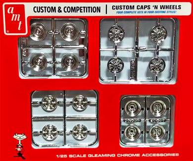 AMT 1/25 Custom & Competition Hub Caps 'N Wheels Set PP021