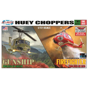 Atlantis 1/72 US Bell UH-1 Huey Choppers Two Pack Snap Kit M1026