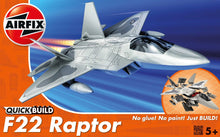 Load image into Gallery viewer, Airfix QuickBuild Snap F-22 Raptor Plastic Kit J6005R-1