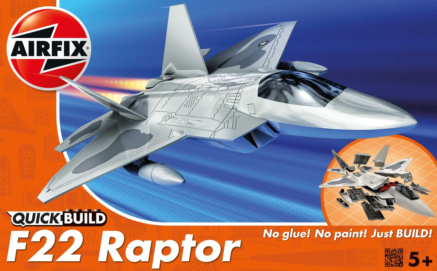 Airfix QuickBuild Snap F-22 Raptor Plastic Kit J6005R-1